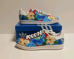 ADIDAS STAN SMITH FARM WOMEN'S SIZE 5.5 SNEAKERS FLORAL BLUE RED & WHITE BB5158
