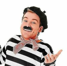 Adult Mens Ladies Frenchman Disguise French Hat Beret Scarf Tash Fancy Dress Set
