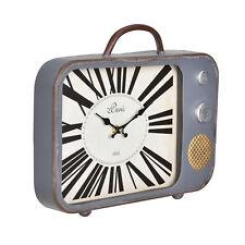 [en.casa]® Reloj de pared decorativo televisor antiguo diseño retro analógico