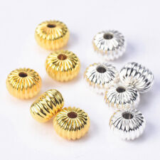 8mm 10mm Gold/Silver Plated Rondelle Metal Brass Alloy Loose Crafts Spacer Beads