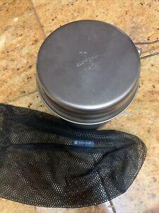 Snow Peak Titanium Trek cook pot with lid pan, folding handles 35oz