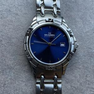 Skagen Mens Quartz 63LSXN Stainless Steel Bracelet Band Blue Dial W/Date D3
