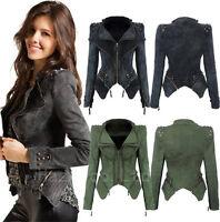 Womens Rock Punk Rivet Studded Denim Moto Jean Slim Jacket Coat Blazer Fashion