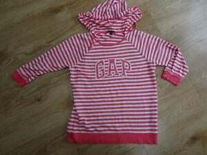 GAP ladies pink white stripe lightweight hooded sweatshirt jumper XL UK 16