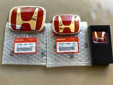 2pcs Set Honda Fit GK 14 - 19 JDM Red H Front Rear Type R Grille Emblem Logo