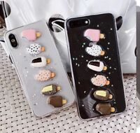 Glitter 3D Ice Cream Clear Soft TPU Gel Phone Case Cover For iPhone X 6 7 8 plus