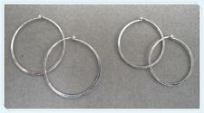 Set of 2 pairs of STERLING SILVER Flat Hoop Earrings. FREE SHIPPING. (#68/70-SS)