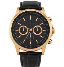 French Connection Homme Or Cuir Noir Montre Chronographe FC1146BG
