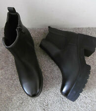 Black Block Heel Platform Sole Chelsea Ankle Boots Size UK 7 EU 40