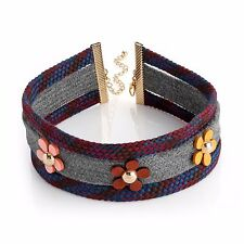 Choker Necklace 3 Row Assorted Coloured Fabric & Flowers