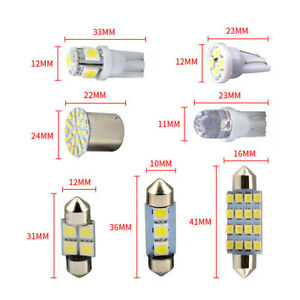 14PCS LED Interior Bulb For Car Cool White Cob Chip Dome Bright T10 Unisex
