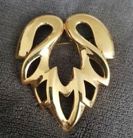VINTAGE abstract Modernist Large Brooch Goldtone Statement