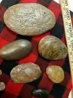 lovely decorative jasper and agate, chert banded oval stone lot 4+lbs
