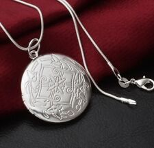 925 Sterling Silver Round LOCKET Photo Pendant Charm Necklace Chain Elegant Gift
