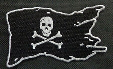 PIRATE FLAG SILVER JOLLY ROGER FLAG EMBROIDERED PATCH