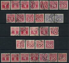 AUSTRIA 1908-13 Postage due complete set on all three papers used