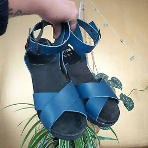 VINTAGE SWEDISH CLOGS WOODEN LEATHER SHOES HEELS BLUE SIZE 7 FUNKIS