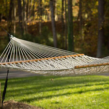 FP- White Outdoor Mesh Cotton Rope Swing Hammock Hanging on the Porch or Beach