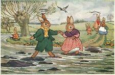 Margaret Tempest Stepping Stones Pkt 106 Easter Bunnies Easter Postcard