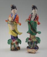 "1920's CHINESE EXPORT GUAN YIN kwan yin  LOT OF 2 FIGURINES ORIG LABELS 8"""