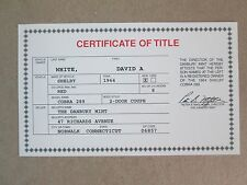 Danbury Mint Paperwork 1964 Shelby Cobra 289 Coupe