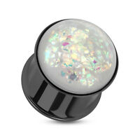 PAIR Synthetic Opal Black Plated Double Flare Tunnels Ear Plugs Earlets Gauges
