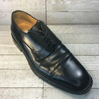 MEZLAN Mens 10 M PIAZZA Black Leather Cap Toe Oxfords Shoes EUC