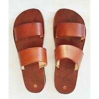 Brown Double Mule Slide Women Mexican Leather Handmade Sandal Huarache CZ11cf