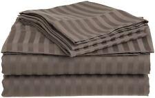 King Size Egyptian Cotton 4pce Striped Sheet Set 400Tc Taupe