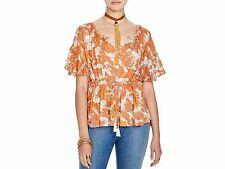 128791 New Free People Riverbend Printed Kimono Split Neck Blouse Top Small S