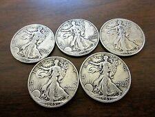 Set of 5 Silver Walking Liberty Eagle Half Dollars 1941-1945