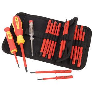 Draper 18 Pc VDE Insulated Interchangeable Blade Screwdriver Set Tool Roll 05776