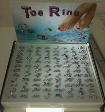 96pcs Wholesale Lots Mixed Colors Foot Toe Ring On A Display