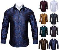 Herren Hemd Slim Fit Langarm Oberhemd Stehkragen Blau Paisley Shirt Freizeit XL