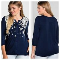 Sheego @ Kaleidoscope Plus Size 22 24 Navy White 3d Graphic Long Tunic TOP Fab
