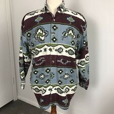 Mens Button Shirt Vintage 90s Point Zero Clothing Tribal Pattern Size Large