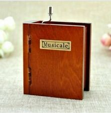 Wooden Hand Crank Book Music Box : Canon in D