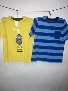 LOT of 2 Boy's HANNA ANDERSSON NWT COTTON SHIRTS 130 8 Train Blue Stripe