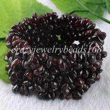 "Garnet Chips Beads Weave Stretchy Gemstone Bracelet 7 ""Strand Jewelry 4~8mm H232"