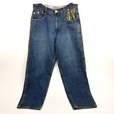 Notorious BIG Mens Jeans 36x31 Hip Hop Baggy Med Dark Wash Loose Fit