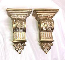 Set/2 Ornate Curtain Corbels Swag/Scarf Holder GOLD Gilt Acanthus Leaf Rod Shelf