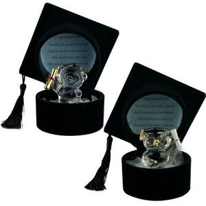 Graduation Gift with Congratulations Poem Crystal Owl or Teddy in Black Hat
