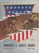 1946 Amherst vs Coast Guard Football Program Signed CHOF HC Lloyd Jordan