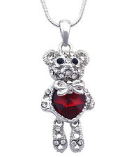 Valentine's Day Gift Red Heart Bow Tie Ribbon Teddy Bear Pendant Necklace n2001r