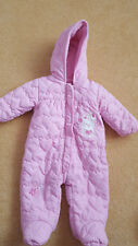 Baby Girls pink All in Ones/ snowsuit with gloves, fleece lined, 3-6 months, vgc