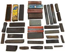 Antique Abrasives Whetstone Oil Stone LOT vtg Knife Sharpening Hone tool blade