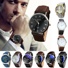 Luxury Mens Watch Fashion Faux Leather Strap Quartz Analog Digital Wrist Watches