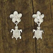 Hawaiian 925 Sterling Silver Plumeria Flowers Turtles Dangle Earrings # SE23101
