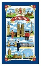 London Tea Towel Souvenir Gift Scenes Big Ben Nelson Tower Bridge Blue UK Cotton