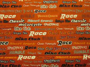 VINTAGE MOTORCYCLE CLUB WORDS BIKER ORANGE/RED COTTON FABRIC 6 Inch End Cut